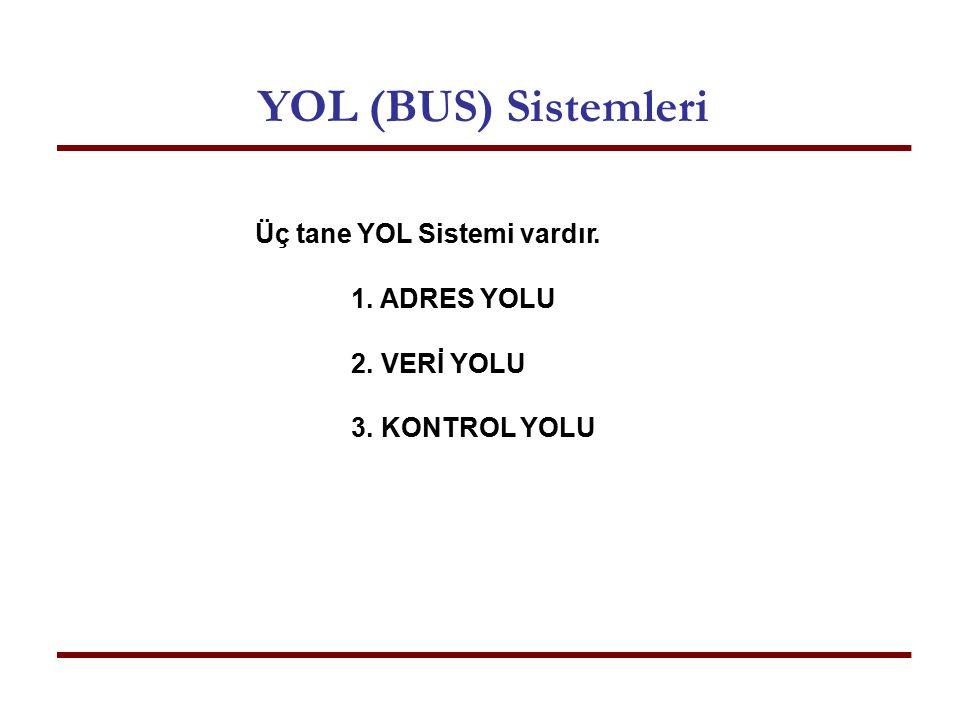 YOL (BUS) Sistemleri Üç tane YOL Sistemi vardır. ADRES YOLU VERİ YOLU