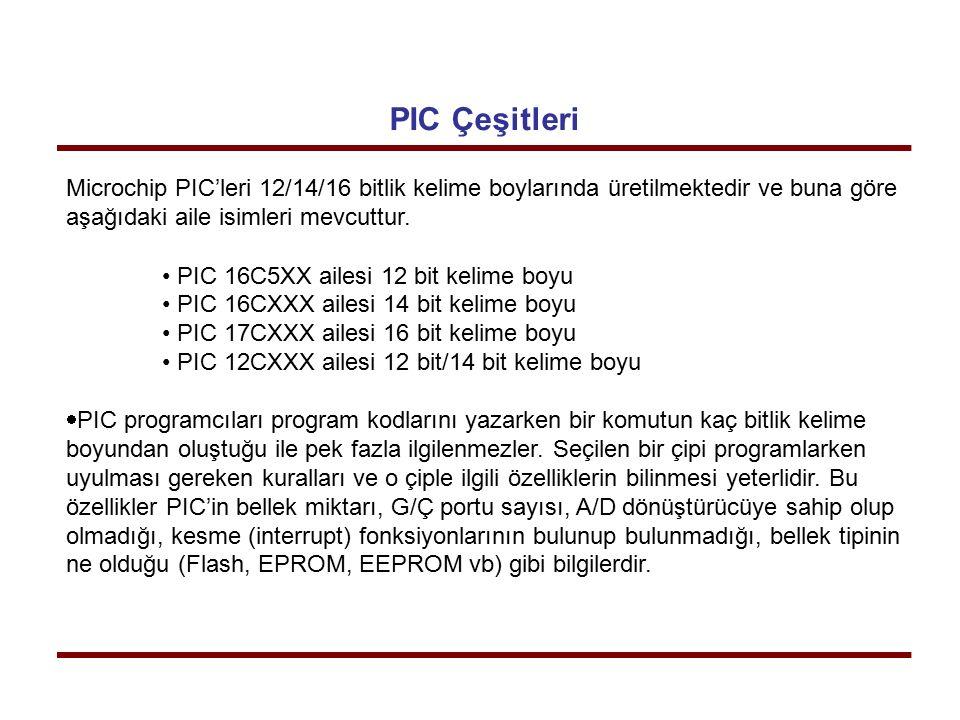 PIC Çeşitleri Microchip PIC'leri 12/14/16 bitlik kelime boylarında üretilmektedir ve buna göre aşağıdaki aile isimleri mevcuttur.