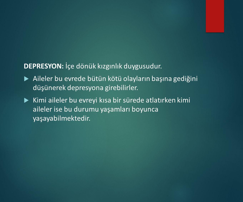 DEPRESYON: İçe dönük kızgınlık duygusudur.