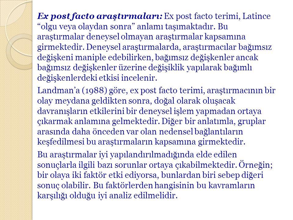 Ex post facto araştırmaları: Ex post facto terimi, Latince olgu veya olaydan sonra anlamı taşımaktadır.