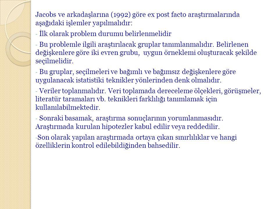 Jacobs ve arkadaşlarına (1992) göre ex post facto araştırmalarında aşağıdaki işlemler yapılmalıdır: