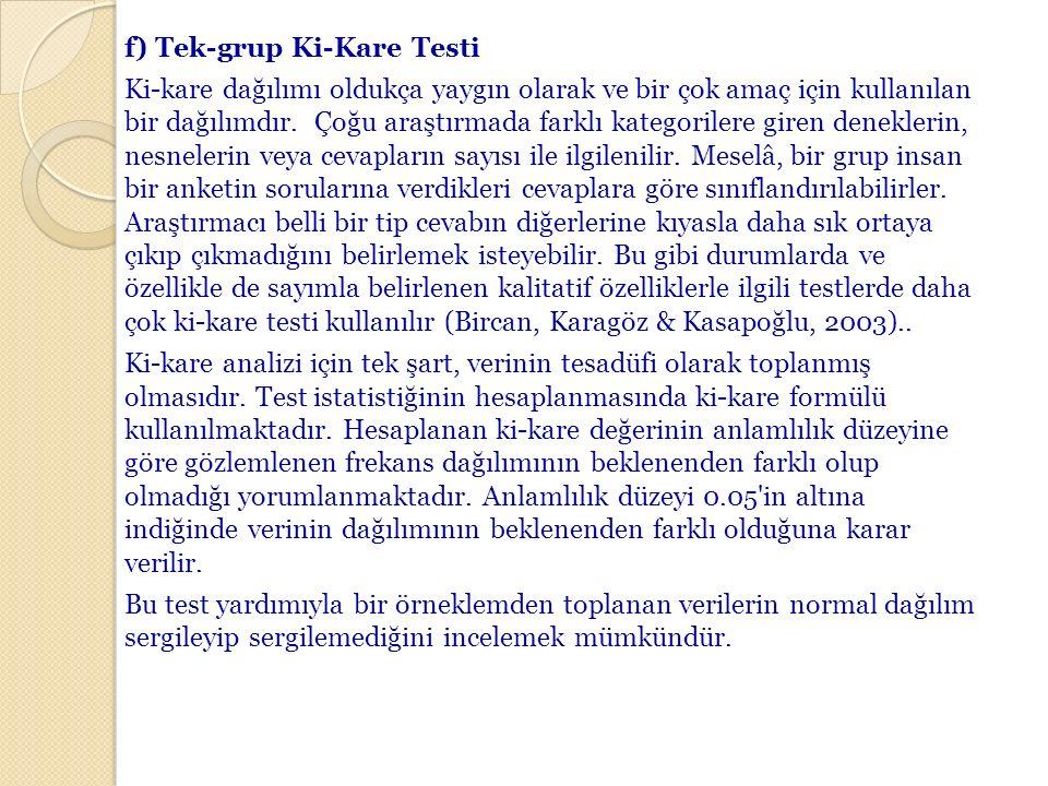 f) Tek-grup Ki-Kare Testi