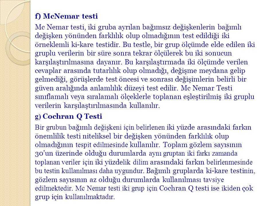 f) McNemar testi Mc Nemar testi, iki gruba ayrılan bağımsız değişkenlerin bağımlı değişken yönünden farklılık olup olmadığının test edildiği iki örneklemli ki-kare testidir.