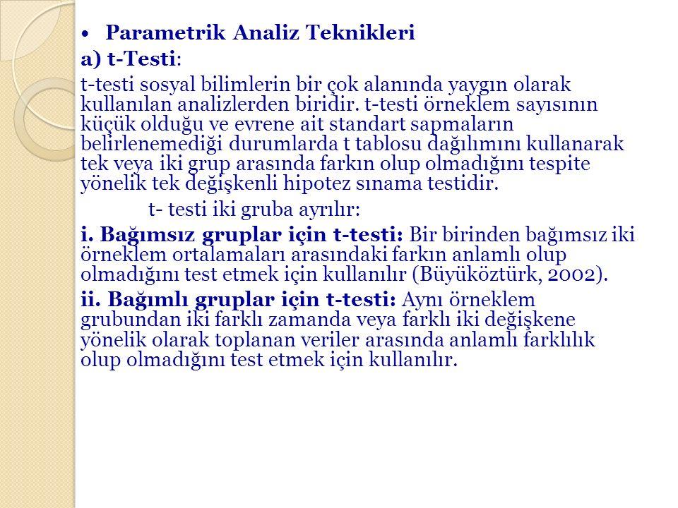 • Parametrik Analiz Teknikleri