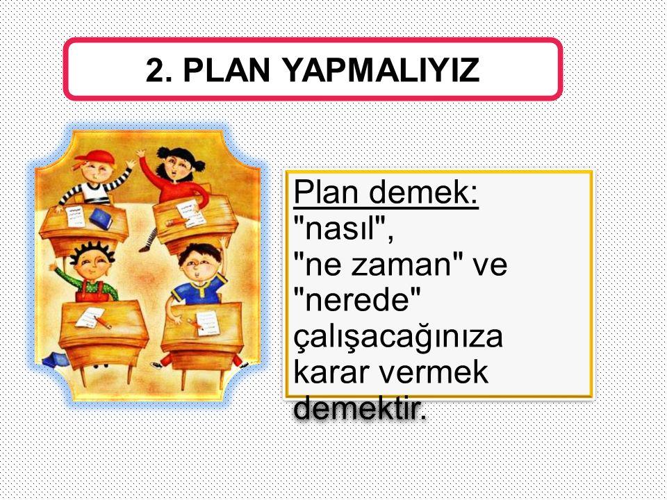 2. PLAN YAPMALIYIZ Plan demek: nasıl , ne zaman ve.