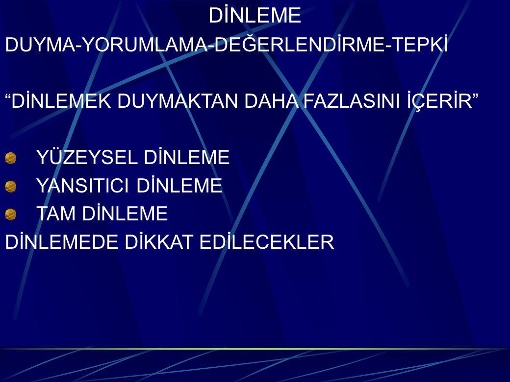 DİNLEME DUYMA-YORUMLAMA-DEĞERLENDİRME-TEPKİ