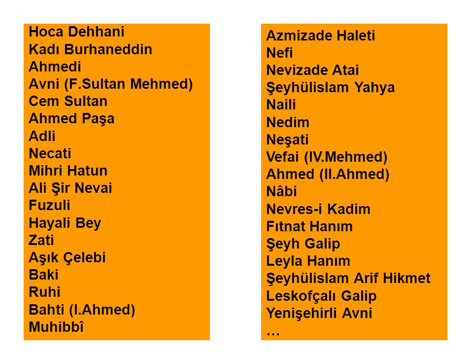 Hoca Dehhani Kadı Burhaneddin. Ahmedi. Avni (F.Sultan Mehmed) Cem Sultan. Ahmed Paşa. Adli. Necati.