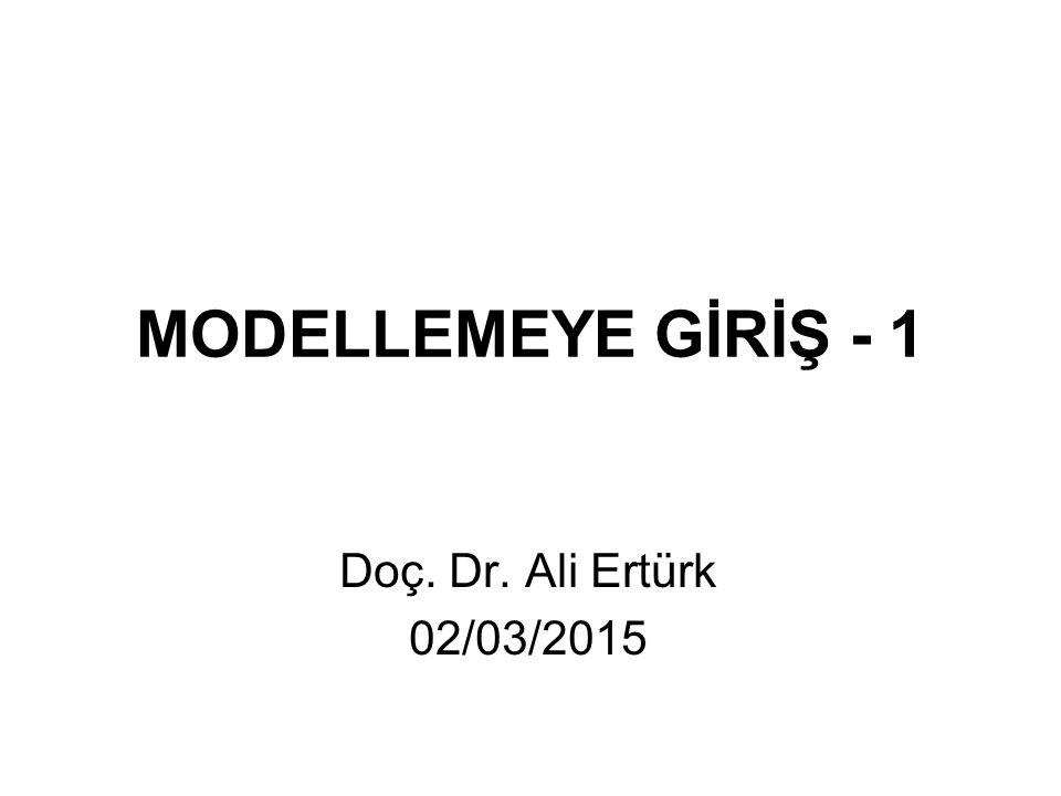 MODELLEMEYE GİRİŞ - 1 Doç. Dr. Ali Ertürk 02/03/2015