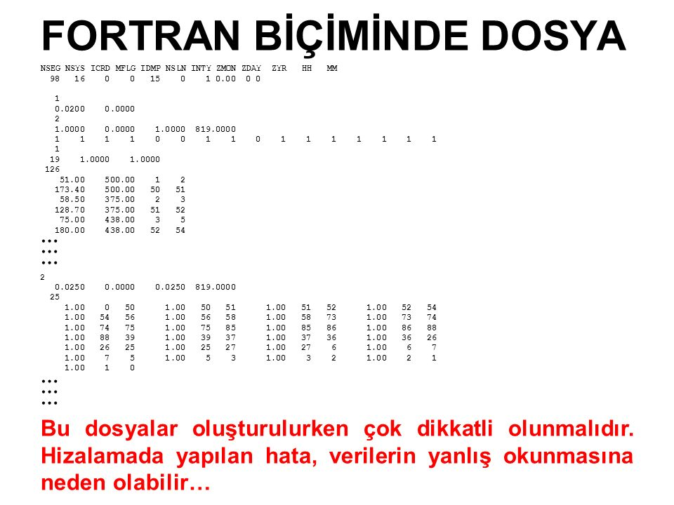 FORTRAN BİÇİMİNDE DOSYA