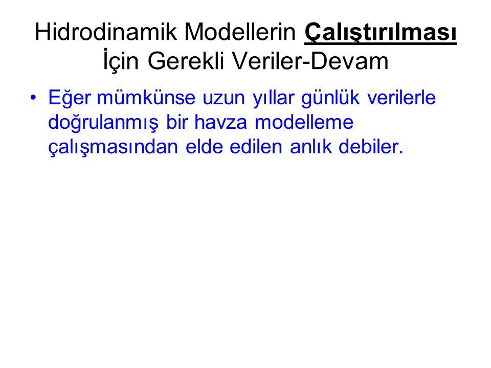 Hidrodinamik Modellerin Çalıştırılması İçin Gerekli Veriler-Devam