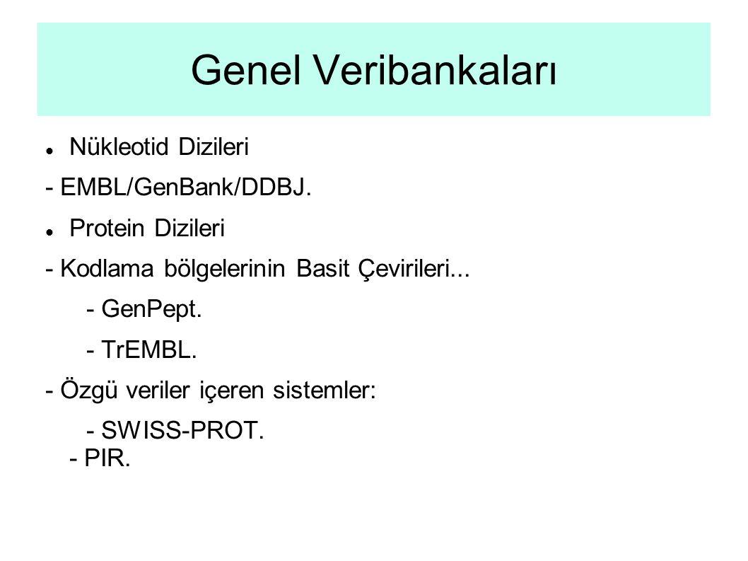 Genel Veribankaları Nükleotid Dizileri - EMBL/GenBank/DDBJ.