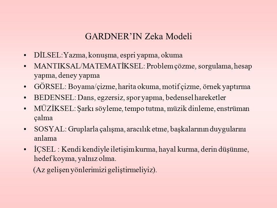 GARDNER'IN Zeka Modeli