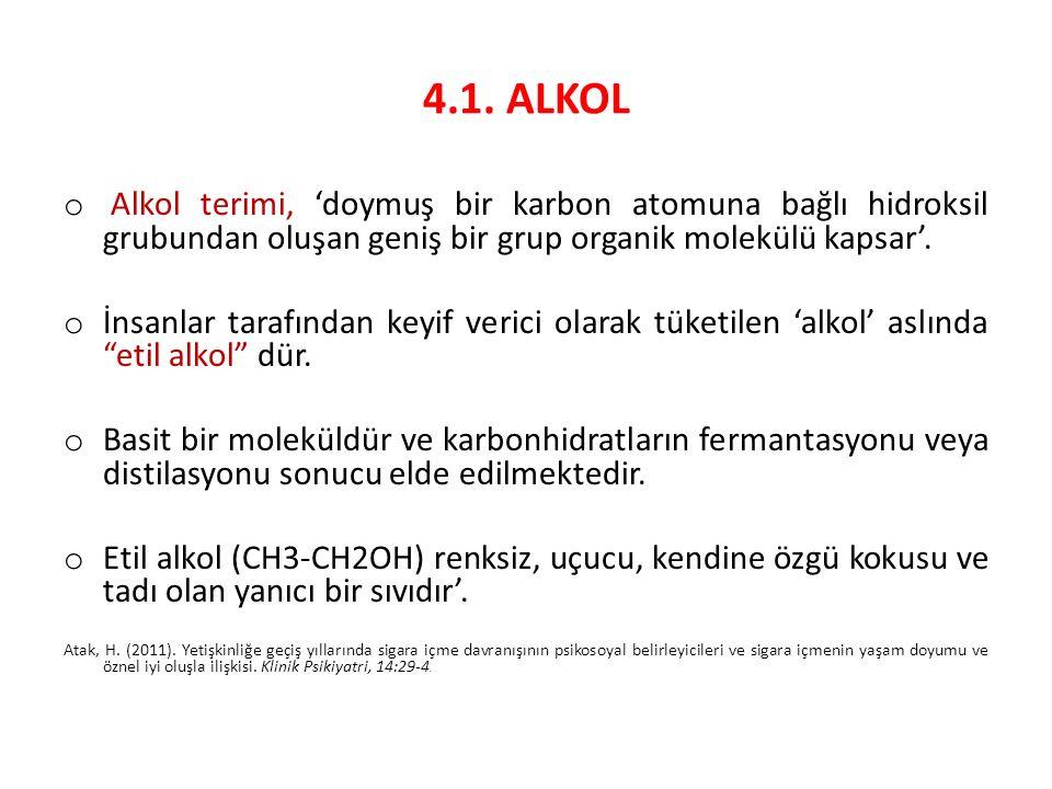 4.1. ALKOL Alkol terimi, 'doymuş bir karbon atomuna bağlı hidroksil grubundan oluşan geniş bir grup organik molekülü kapsar'.