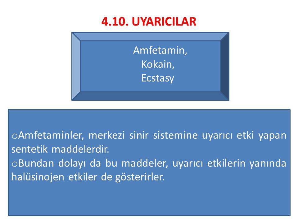 4.10. UYARICILAR Amfetamin, Kokain, Ecstasy