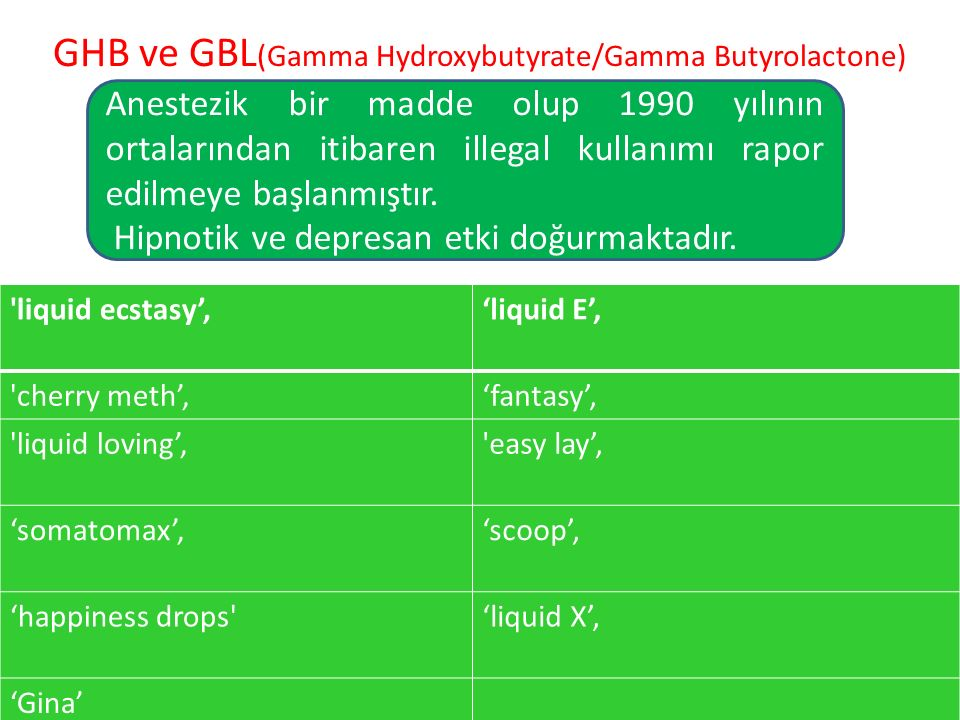 GHB ve GBL(Gamma Hydroxybutyrate/Gamma Butyrolactone)