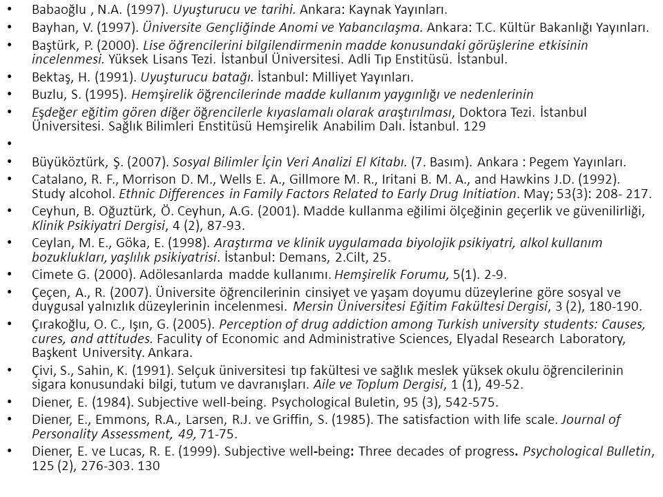 Babaoğlu , N.A. (1997). Uyuşturucu ve tarihi. Ankara: Kaynak Yayınları.