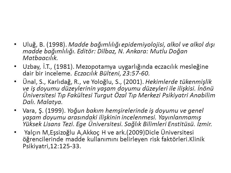 Uluğ, B. (1998). Madde bağımlılığı epidemiyolojisi, alkol ve alkol dışı madde bağımlılığı. Editör: Dilbaz, N. Ankara: Mutlu Doğan Matbaacılık.