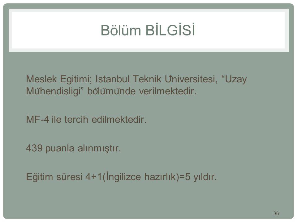 Bölüm BİLGİSİ Meslek Egitimi; Istanbul Teknik Üniversitesi, Uzay Mühendisligi bölümünde verilmektedir.