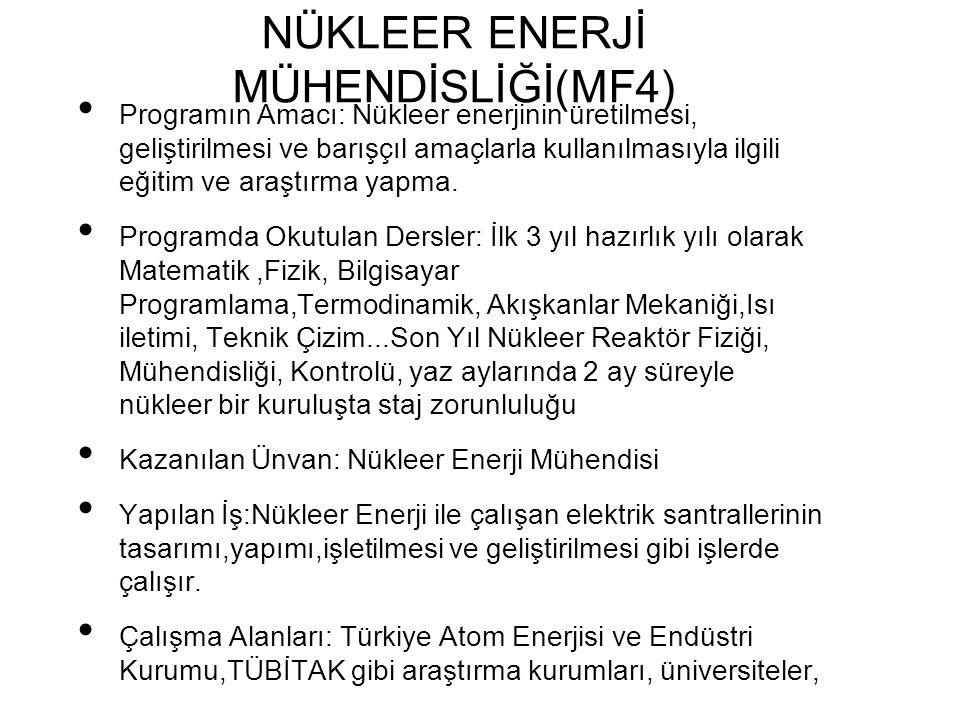 NÜKLEER ENERJİ MÜHENDİSLİĞİ(MF4)