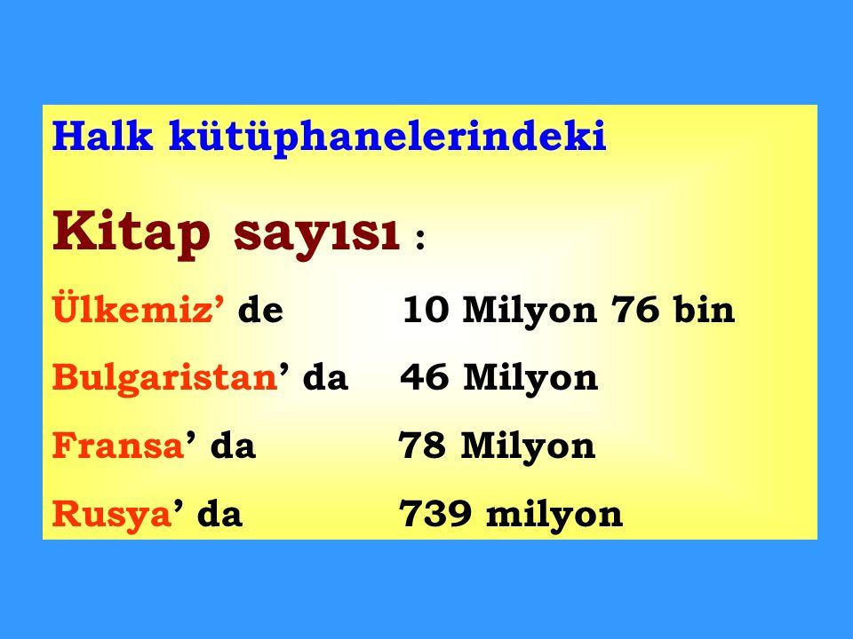Kitap sayısı : Halk kütüphanelerindeki Ülkemiz' de 10 Milyon 76 bin