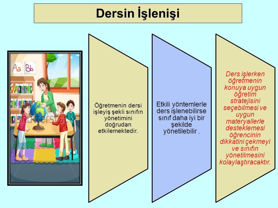 Dersin İşlenişi Öğretmenin dersi işleyiş şekli sınıfın yönetimini doğrudan etkilemektedir.