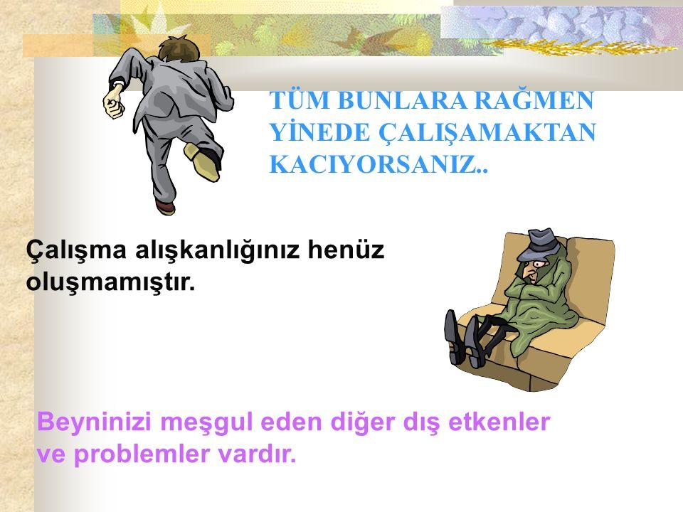 TÜM BUNLARA RAĞMEN YİNEDE ÇALIŞAMAKTAN KACIYORSANIZ..