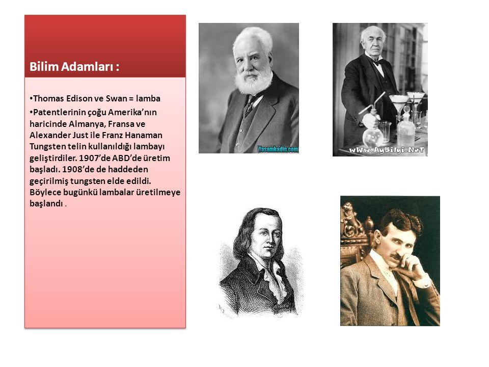 Bilim Adamları : Thomas Edison ve Swan = lamba