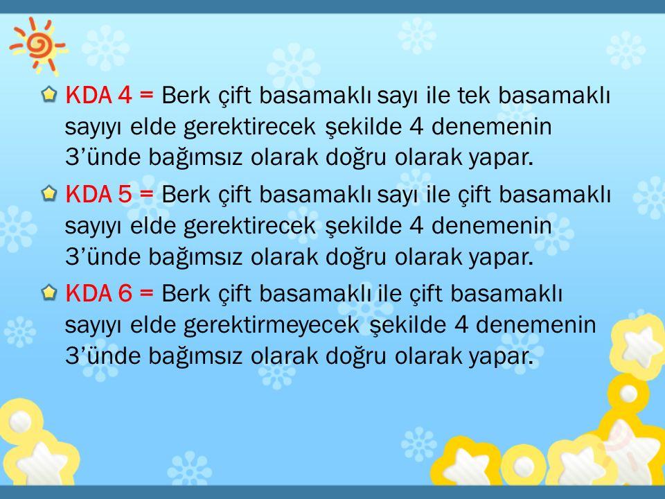 KDA 4 = Berk çift basamaklı sayı ile tek basamaklı sayıyı elde gerektirecek şekilde 4 denemenin 3'ünde bağımsız olarak doğru olarak yapar.