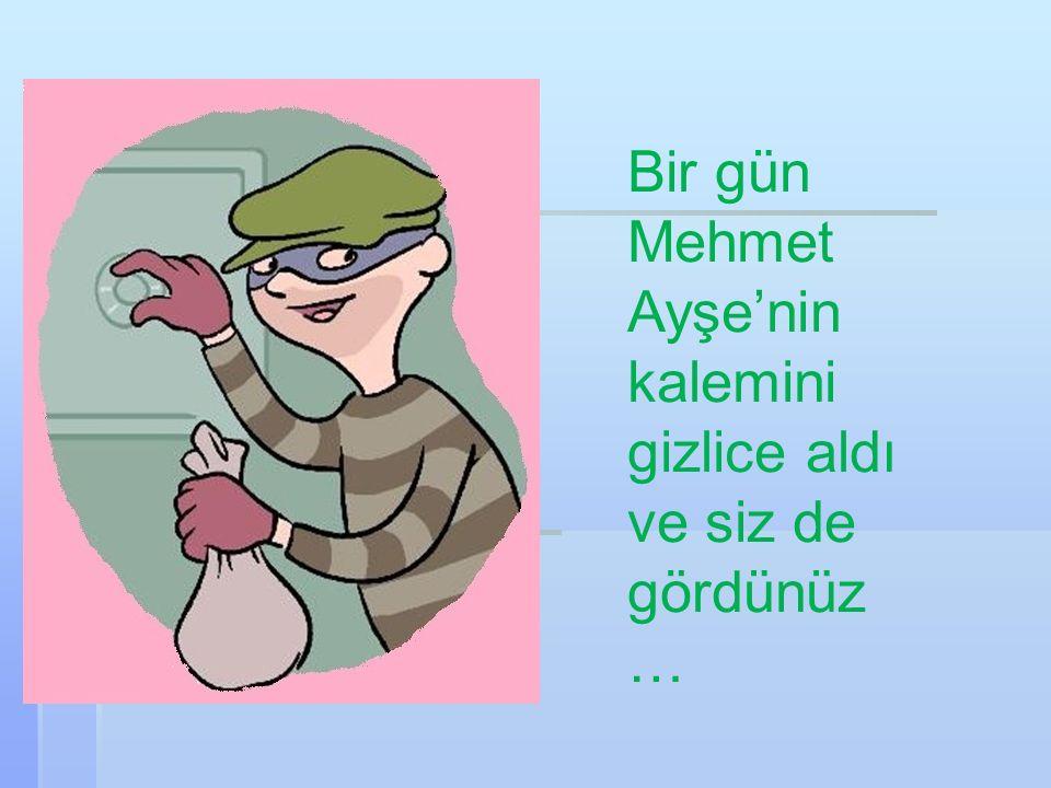 Bir gün Mehmet Ayşe'nin kalemini gizlice aldı ve siz de gördünüz…