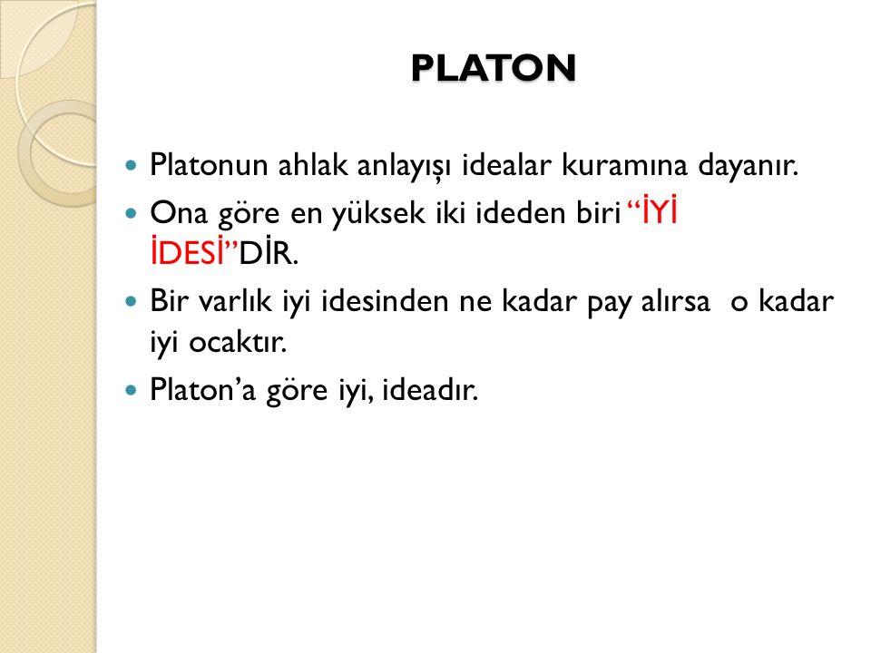 PLATON Platonun ahlak anlayışı idealar kuramına dayanır.