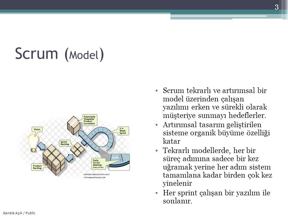 Scrum (Model) Scrum tekrarlı ve artırımsal bir model üzerinden çalışan yazılımı erken ve sürekli olarak müşteriye sunmayı hedeflerler.