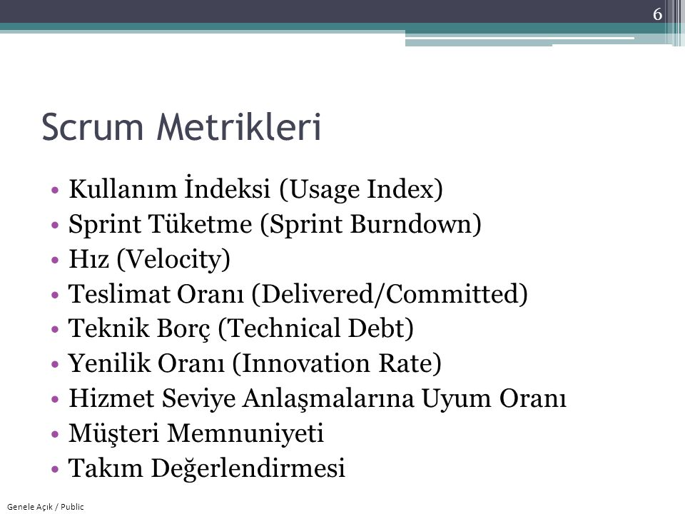 Scrum Metrikleri Kullanım İndeksi (Usage Index)