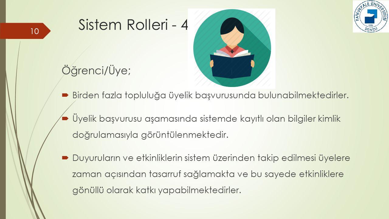 Sistem Rolleri - 4 Öğrenci/Üye;