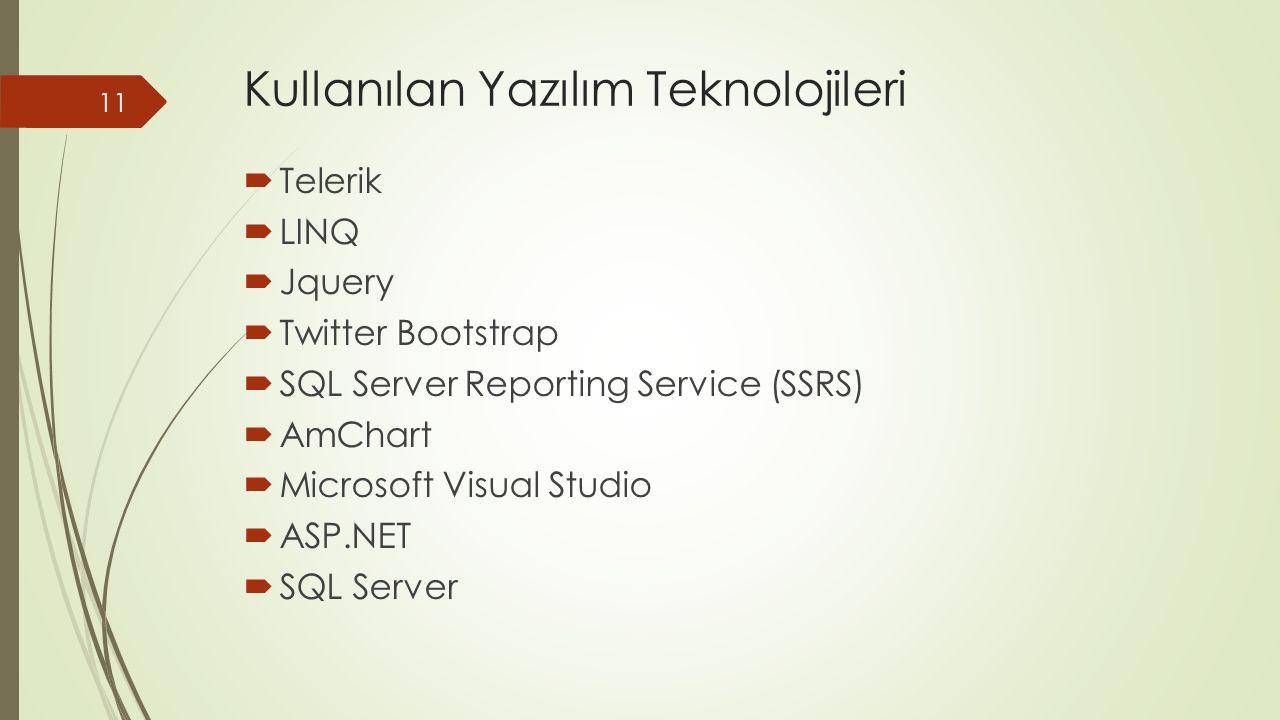 Kullanılan Yazılım Teknolojileri