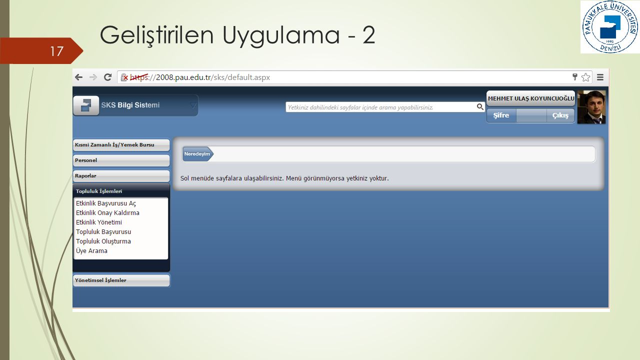 Geliştirilen Uygulama - 2