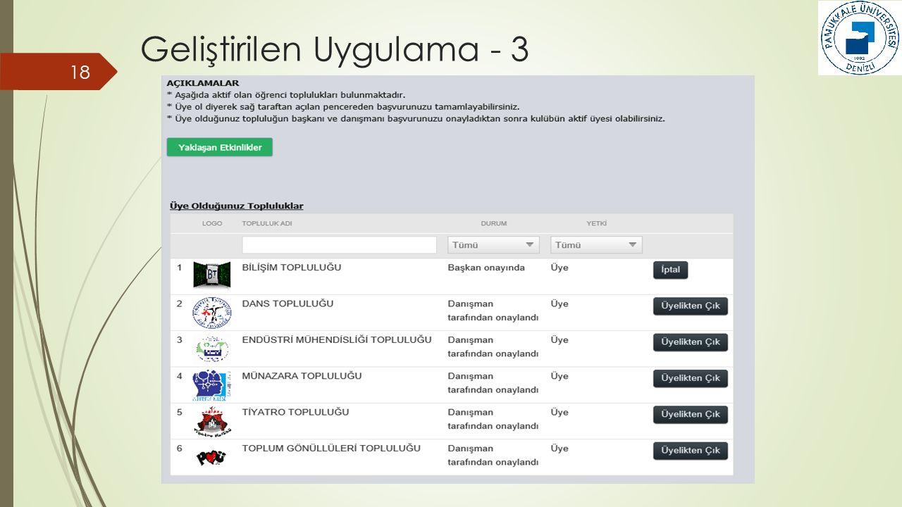 Geliştirilen Uygulama - 3