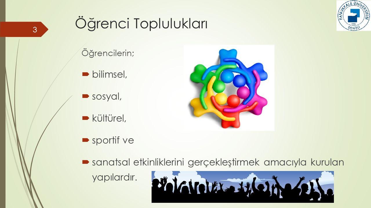 Öğrenci Toplulukları bilimsel, sosyal, kültürel, sportif ve