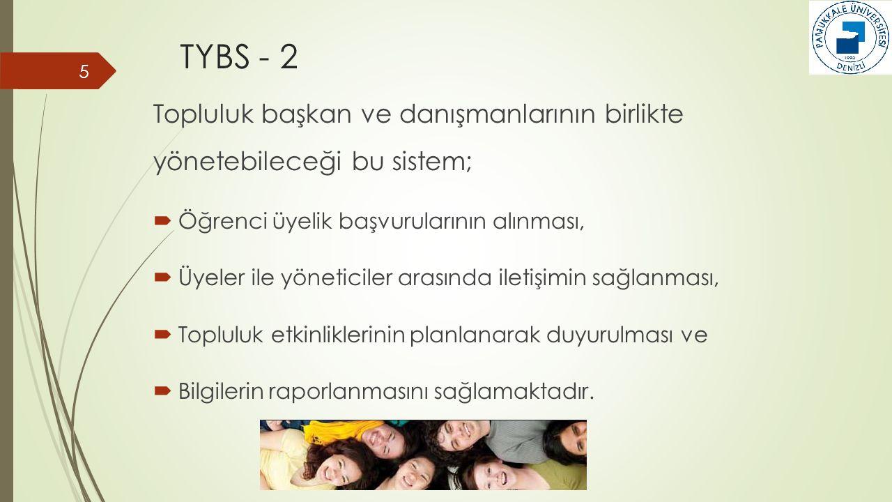 TYBS - 2 Topluluk başkan ve danışmanlarının birlikte yönetebileceği bu sistem; Öğrenci üyelik başvurularının alınması,