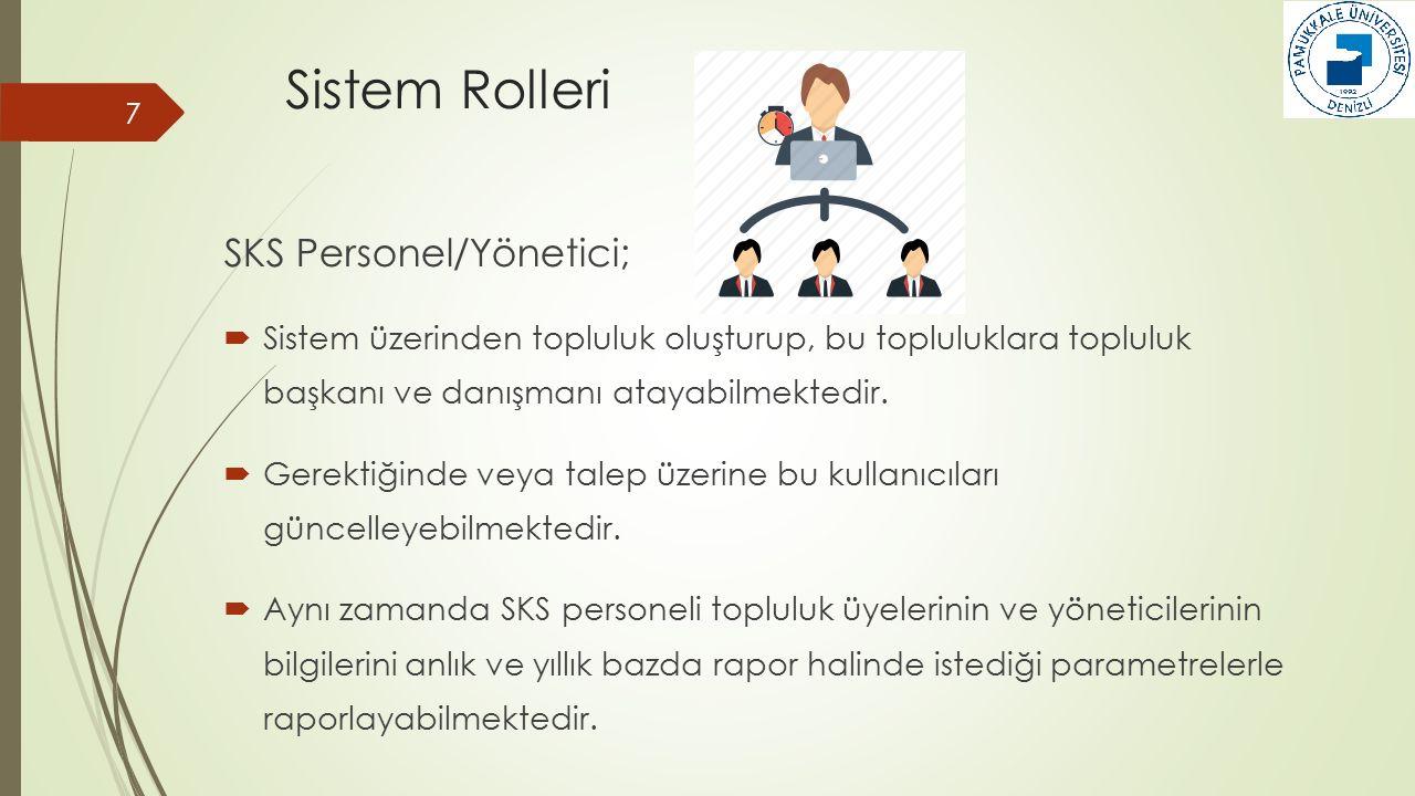 Sistem Rolleri SKS Personel/Yönetici;