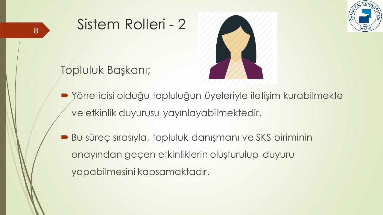 Sistem Rolleri - 2 Topluluk Başkanı;