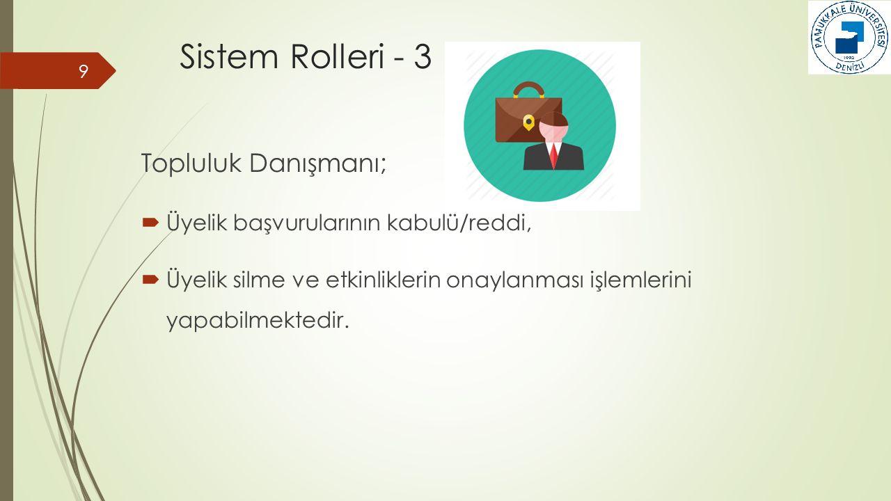 Sistem Rolleri - 3 Topluluk Danışmanı;