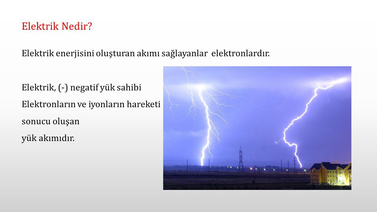 Elektrik Nedir Elektrik enerjisini oluşturan akımı sağlayanlar elektronlardır. Elektrik, (-) negatif yük sahibi.