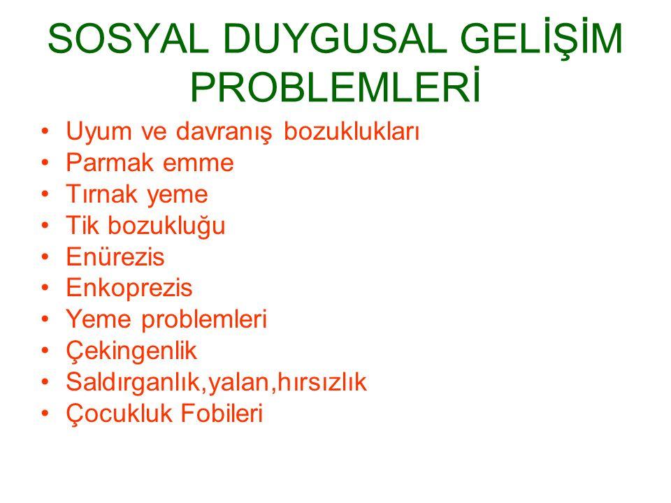 SOSYAL DUYGUSAL GELİŞİM PROBLEMLERİ
