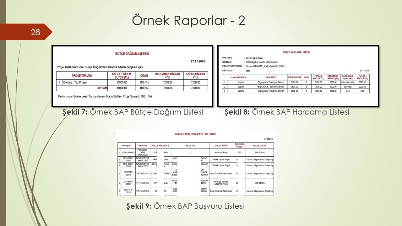 Örnek Raporlar - 2 Şekil 7: Örnek BAP Bütçe Dağılım Listesi