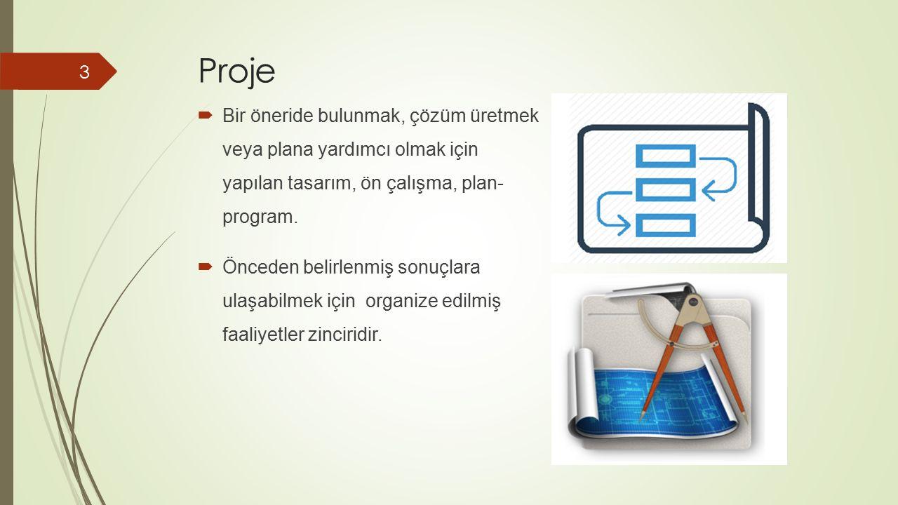 Proje Bir öneride bulunmak, çözüm üretmek veya plana yardımcı olmak için yapılan tasarım, ön çalışma, plan- program.