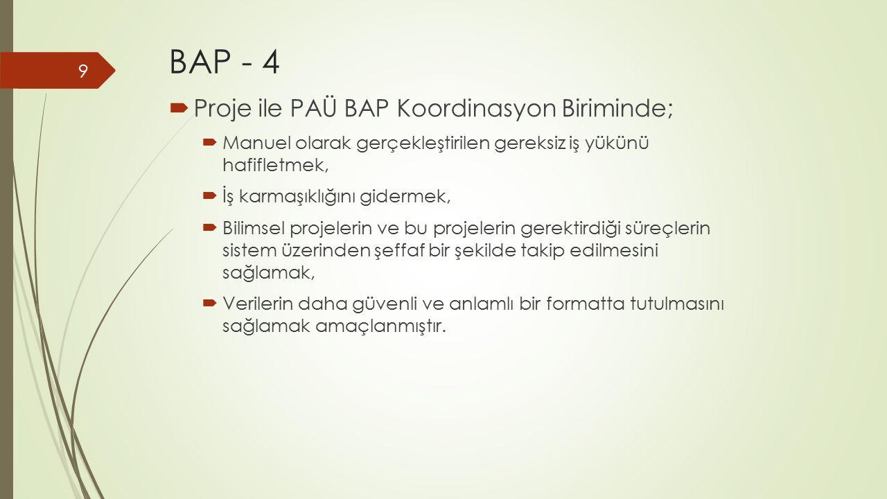 BAP - 4 Proje ile PAÜ BAP Koordinasyon Biriminde;