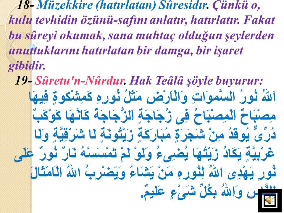 18- Müzekkire (hatırlatan) Sûresidır
