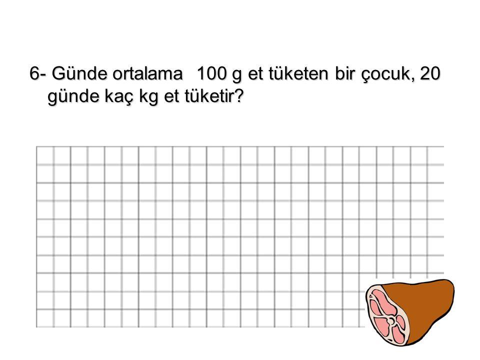 6- Günde ortalama 100 g et tüketen bir çocuk, 20 günde kaç kg et tüketir
