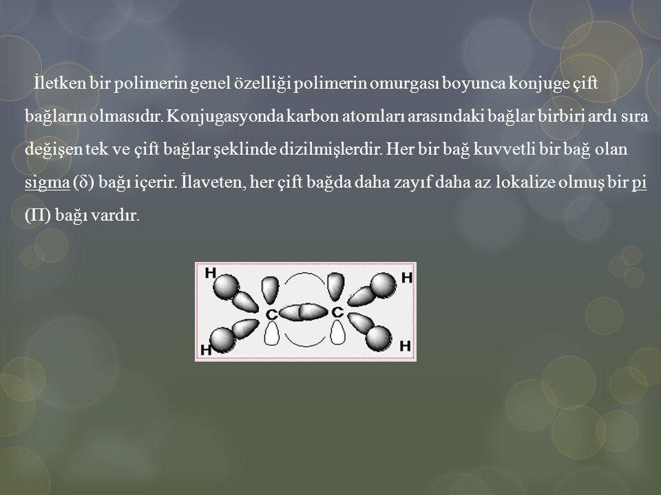 İletken bir polimerin genel özelliği polimerin omurgası boyunca konjuge çift bağların olmasıdır.