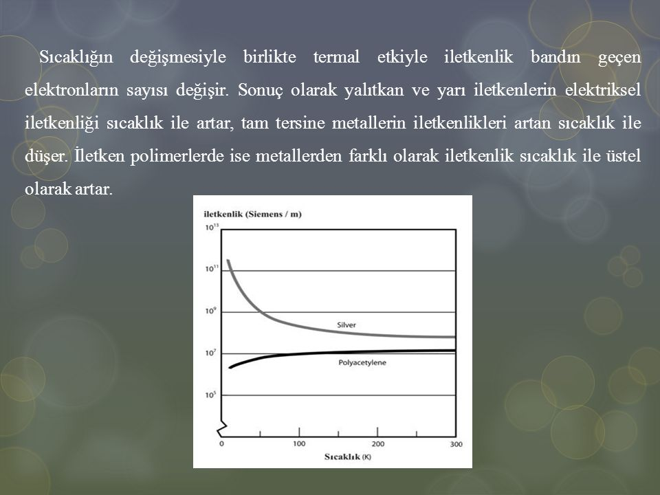 Sıcaklığın değişmesiyle birlikte termal etkiyle iletkenlik bandın geçen elektronların sayısı değişir.